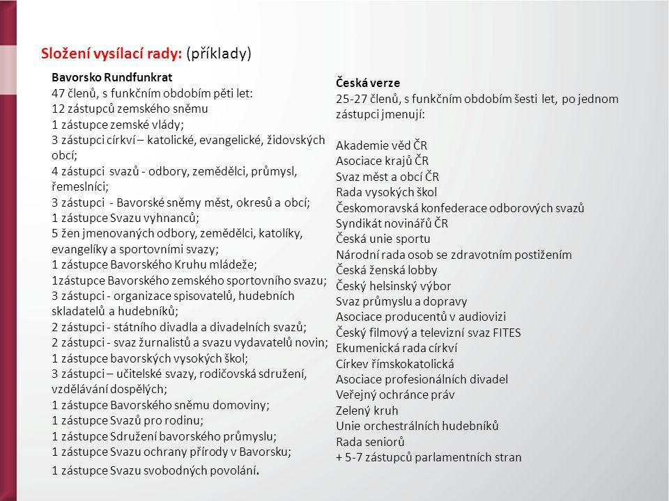 Složení vysílací rady: (příklady) Bavorsko Rundfunkrat 47 členů, s funkčním obdobím pěti let: 12 zástupců zemského sněmu 1 zástupce zemské vlády; 3 zástupci církví – katolické, evangelické, židovských obcí; 4 zástupci svazů - odbory, zemědělci, průmysl, řemeslníci; 3 zástupci - Bavorské sněmy měst, okresů a obcí; 1 zástupce Svazu vyhnanců; 5 žen jmenovaných odbory, zemědělci, katolíky, evangelíky a sportovními svazy; 1 zástupce Bavorského Kruhu mládeže; 1zástupce Bavorského zemského sportovního svazu; 3 zástupci - organizace spisovatelů, hudebních skladatelů a hudebníků; 2 zástupci - státního divadla a divadelních svazů; 2 zástupci - svaz žurnalistů a svazu vydavatelů novin; 1 zástupce bavorských vysokých škol; 3 zástupci – učitelské svazy, rodičovská sdružení, vzdělávání dospělých; 1 zástupce Bavorského sněmu domoviny; 1 zástupce Svazů pro rodinu; 1 zástupce Sdružení bavorského průmyslu; 1 zástupce Svazu ochrany přírody v Bavorsku; 1 zástupce Svazu svobodných povolání.