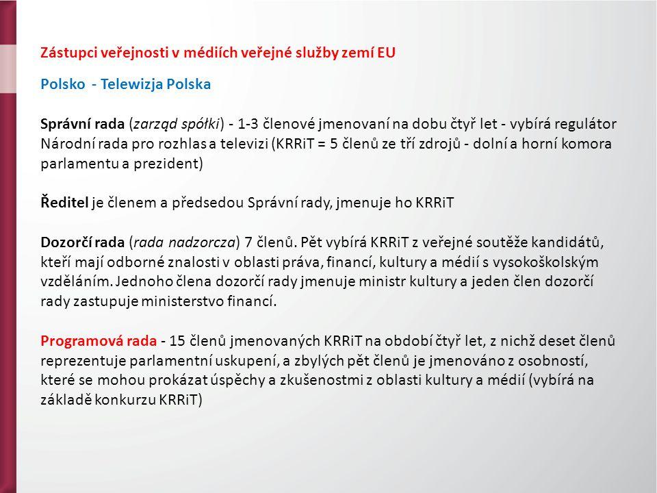 Zástupci veřejnosti v médiích veřejné služby zemí EU Polsko - Telewizja Polska Správní rada (zarząd spółki) - 1-3 členové jmenovaní na dobu čtyř let - vybírá regulátor Národní rada pro rozhlas a televizi (KRRiT = 5 členů ze tří zdrojů - dolní a horní komora parlamentu a prezident) Ředitel je členem a předsedou Správní rady, jmenuje ho KRRiT Dozorčí rada (rada nadzorcza) 7 členů.