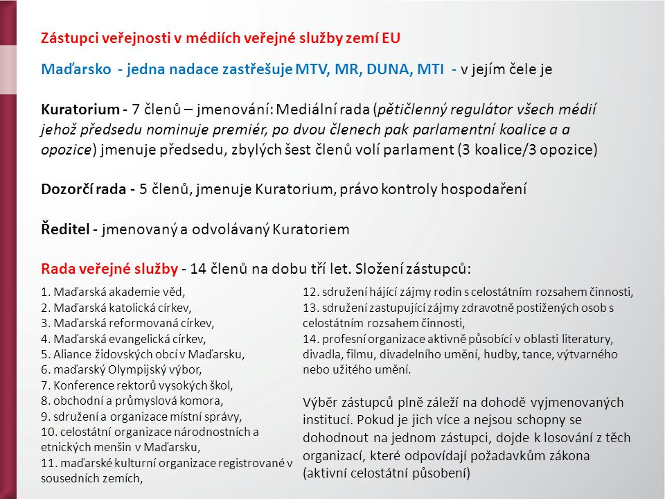 Zástupci veřejnosti v médiích veřejné služby zemí EU Maďarsko - jedna nadace zastřešuje MTV, MR, DUNA, MTI - v jejím čele je Kuratorium - 7 členů – jmenování: Mediální rada (pětičlenný regulátor všech médií jehož předsedu nominuje premiér, po dvou členech pak parlamentní koalice a a opozice) jmenuje předsedu, zbylých šest členů volí parlament (3 koalice/3 opozice) Dozorčí rada - 5 členů, jmenuje Kuratorium, právo kontroly hospodaření Ředitel - jmenovaný a odvolávaný Kuratoriem Rada veřejné služby - 14 členů na dobu tří let.