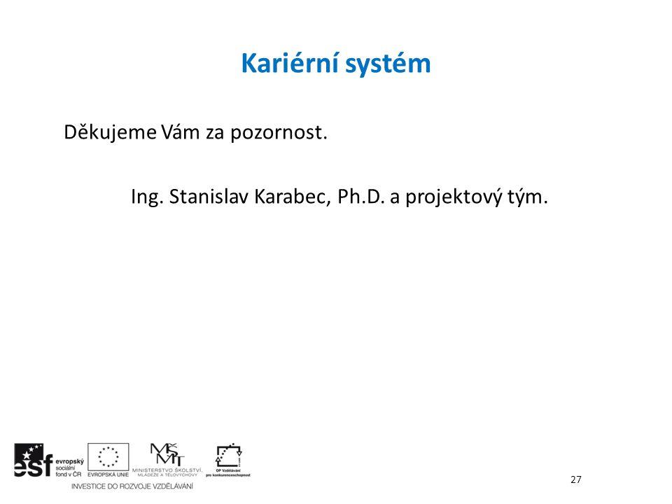 Děkujeme Vám za pozornost. Ing. Stanislav Karabec, Ph.D. a projektový tým. Kariérní systém 27