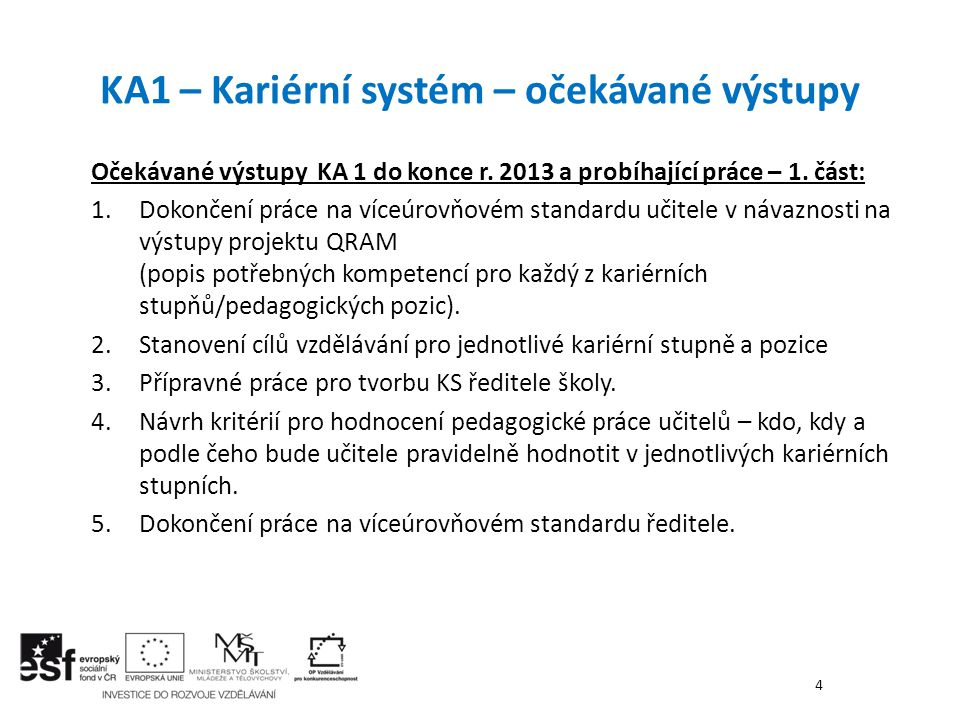 Očekávané výstupy KA 1 do konce r. 2013 a probíhající práce – 1. část: 1.Dokončení práce na víceúrovňovém standardu učitele v návaznosti na výstupy pr
