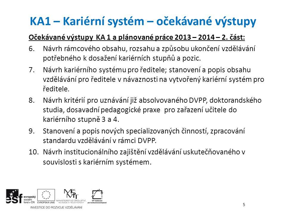 Očekávané výstupy KA 1 a plánované práce 2013 – 2014 – 2. část: 6. Návrh rámcového obsahu, rozsahu a způsobu ukončení vzdělávání potřebného k dosažení