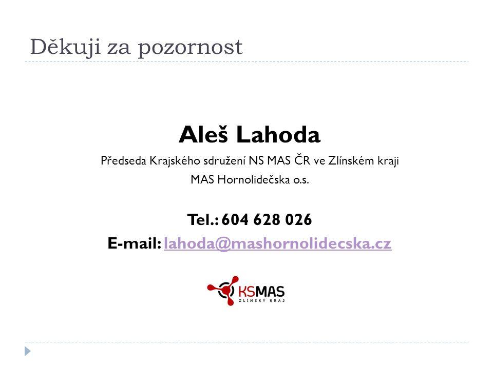 Děkuji za pozornost Aleš Lahoda Předseda Krajského sdružení NS MAS ČR ve Zlínském kraji MAS Hornolidečska o.s.