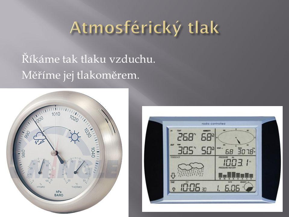 Říkáme tak tlaku vzduchu. Měříme jej tlakoměrem.