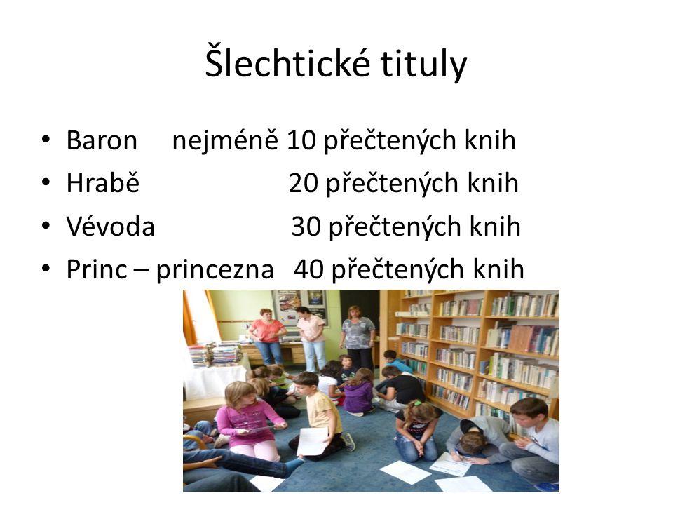 Šlechtické tituly Baron nejméně 10 přečtených knih Hrabě 20 přečtených knih Vévoda 30 přečtených knih Princ – princezna 40 přečtených knih