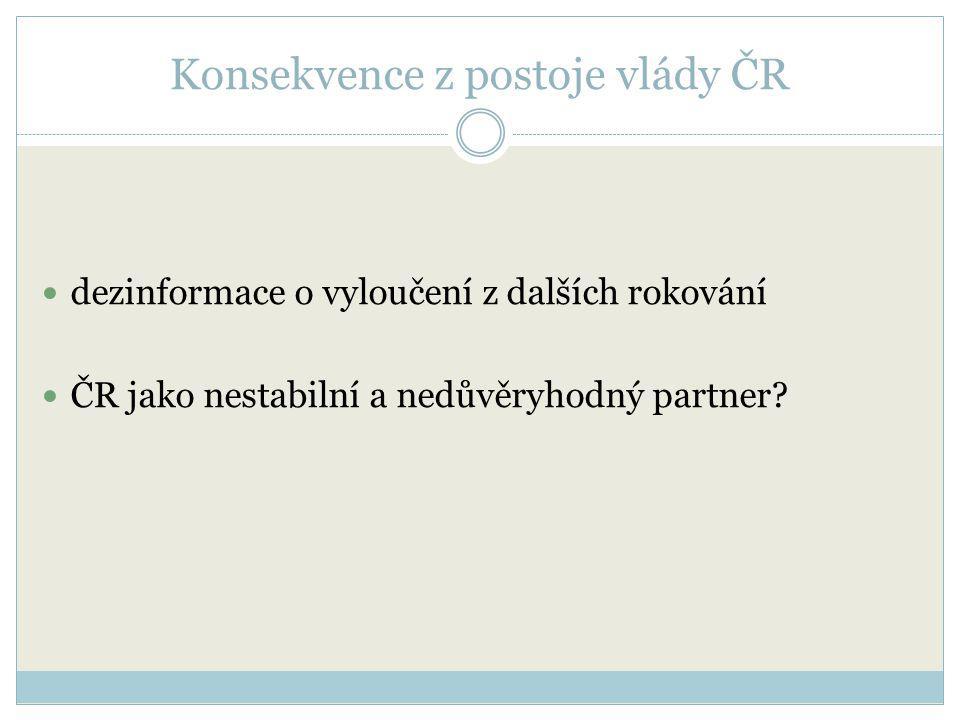Konsekvence z postoje vlády ČR dezinformace o vyloučení z dalších rokování ČR jako nestabilní a nedůvěryhodný partner?