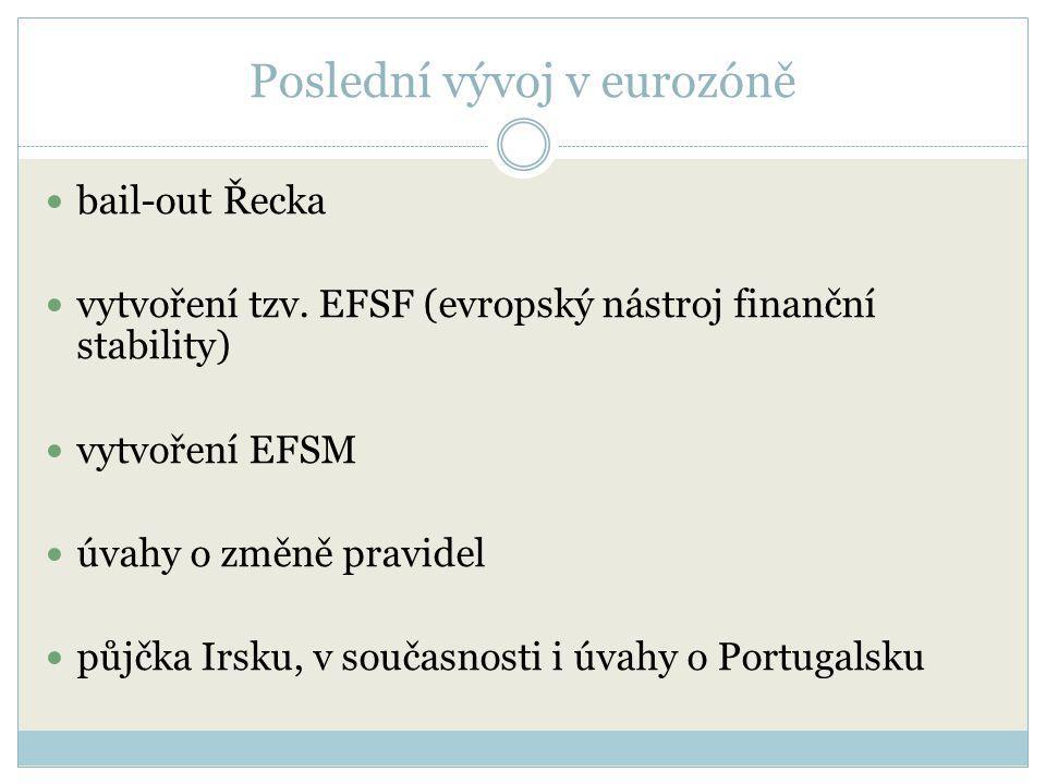Poslední vývoj v eurozóně bail-out Řecka vytvoření tzv. EFSF (evropský nástroj finanční stability) vytvoření EFSM úvahy o změně pravidel půjčka Irsku,