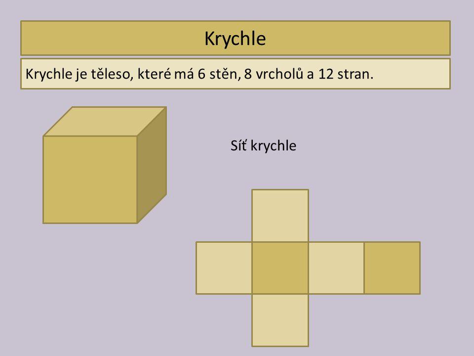 Krychle Krychle je těleso, které má 6 stěn, 8 vrcholů a 12 stran. Síť krychle
