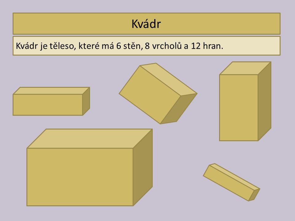 Kvádr Kvádr je těleso, které má 6 stěn, 8 vrcholů a 12 hran.