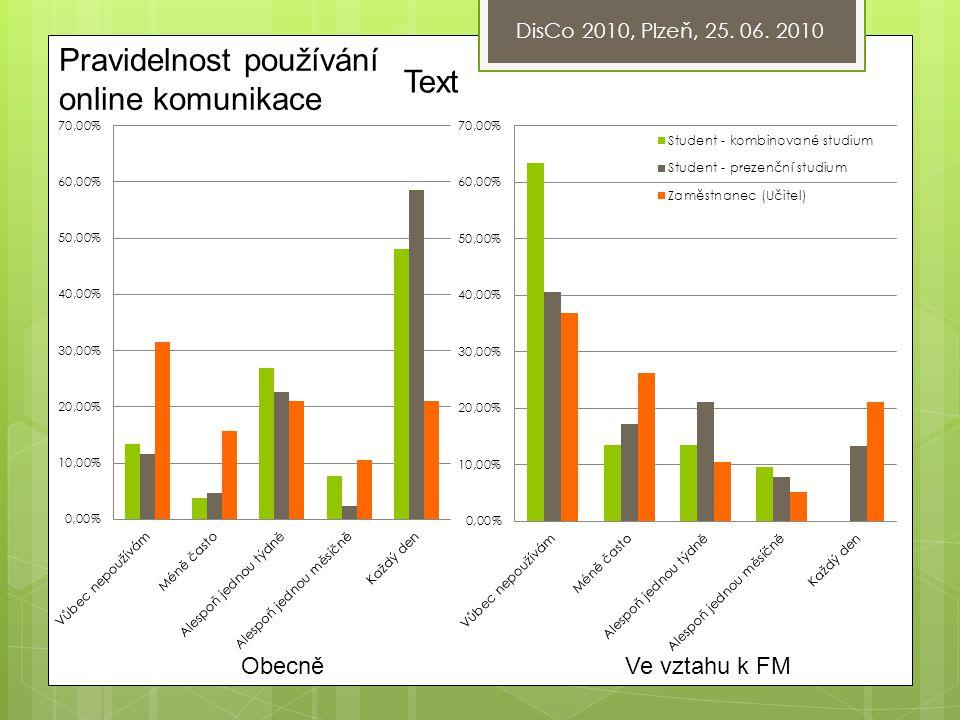 DisCo 2010, Plzeň, 25. 06. 2010 Pravidelnost používání online komunikace Text ObecněVe vztahu k FM