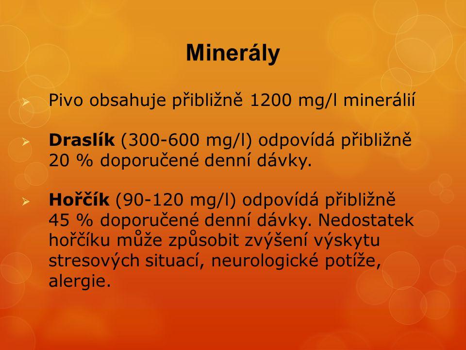  Fosfor (300-700 mg/l) odpovídá přibližně 40 % doporučené denní dávky.