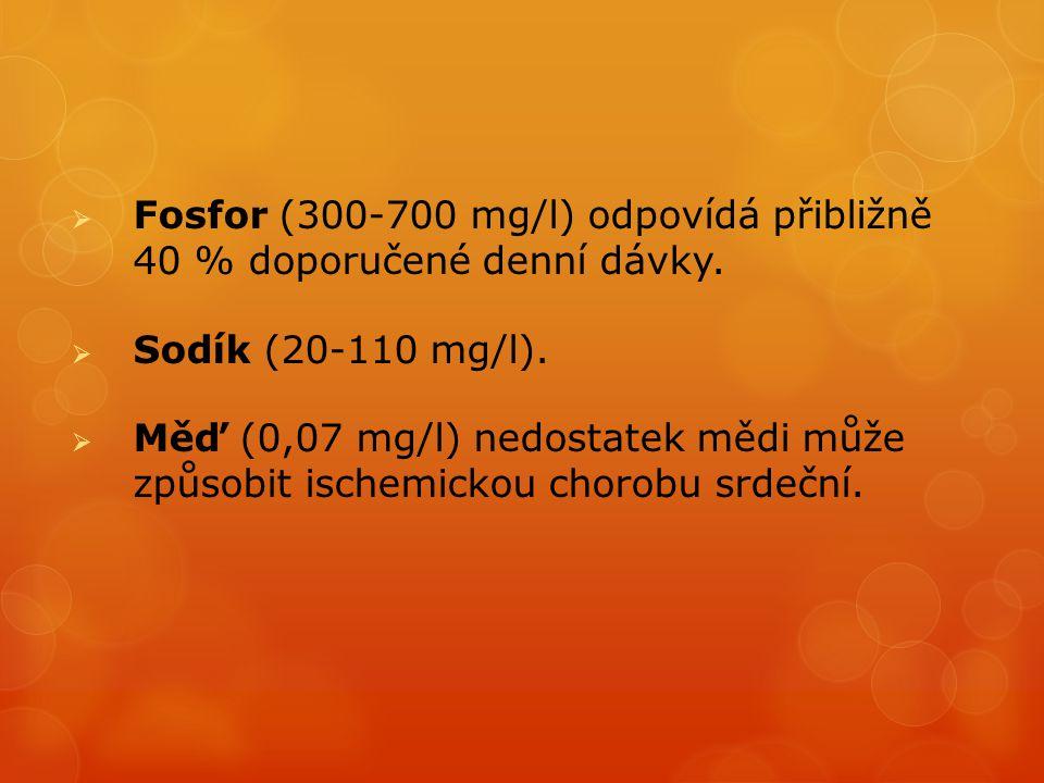  Fosfor (300-700 mg/l) odpovídá přibližně 40 % doporučené denní dávky.  Sodík (20-110 mg/l).  Měď (0,07 mg/l) nedostatek mědi může způsobit ischemi