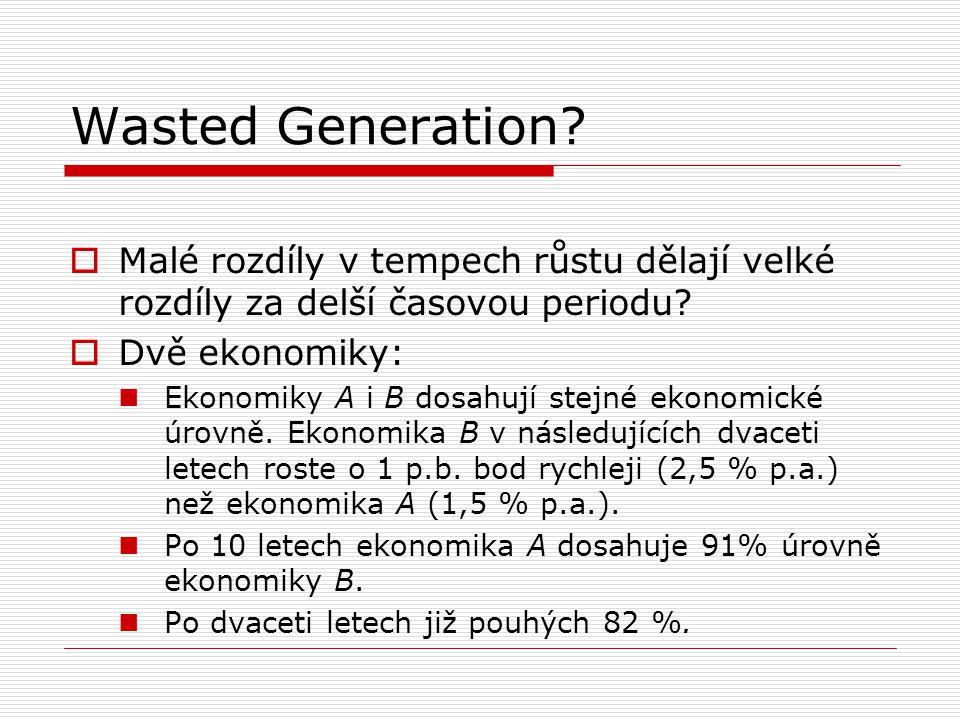 Wasted Generation?  Malé rozdíly v tempech růstu dělají velké rozdíly za delší časovou periodu?  Dvě ekonomiky: Ekonomiky A i B dosahují stejné ekon