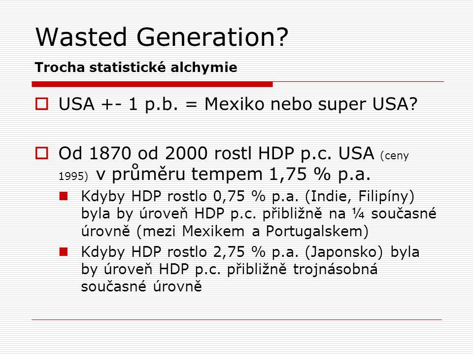 Wasted Generation? Trocha statistické alchymie  USA +- 1 p.b. = Mexiko nebo super USA?  Od 1870 od 2000 rostl HDP p.c. USA (ceny 1995) v průměru tem