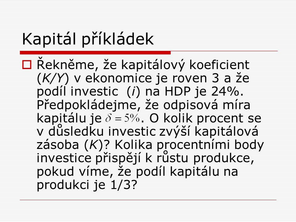 Kapitál příkládek  Řekněme, že kapitálový koeficient (K/Y) v ekonomice je roven 3 a že podíl investic (i) na HDP je 24%. Předpokládejme, že odpisová