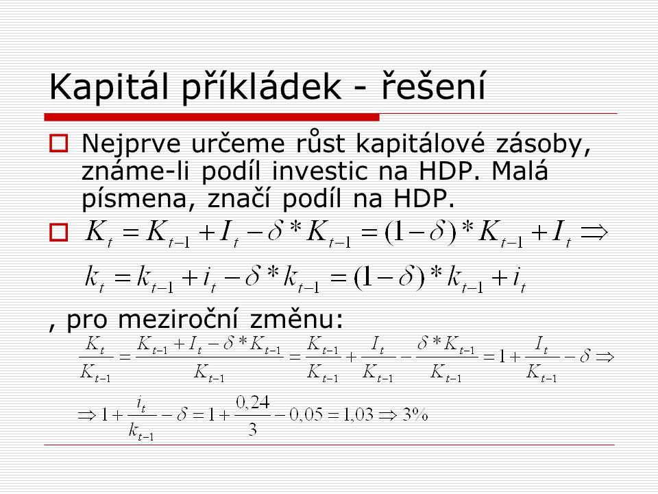 Kapitál příkládek - řešení  Nejprve určeme růst kapitálové zásoby, známe-li podíl investic na HDP. Malá písmena, značí podíl na HDP. , pro meziroční