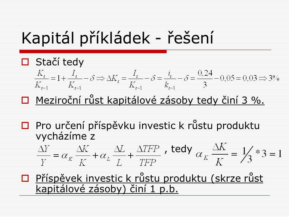 Kapitál příkládek - řešení  Stačí tedy  Meziroční růst kapitálové zásoby tedy činí 3 %.  Pro určení příspěvku investic k růstu produktu vycházíme z