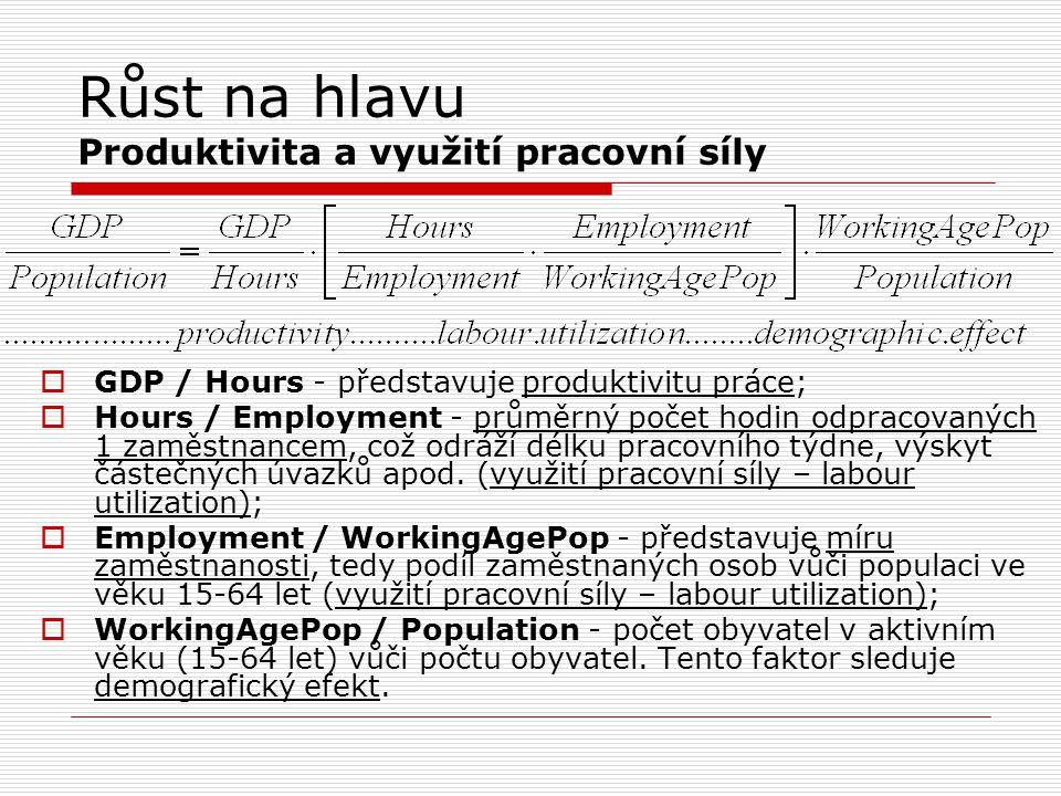 Růst na hlavu Produktivita a využití pracovní síly  GDP / Hours - představuje produktivitu práce;  Hours / Employment - průměrný počet hodin odpraco