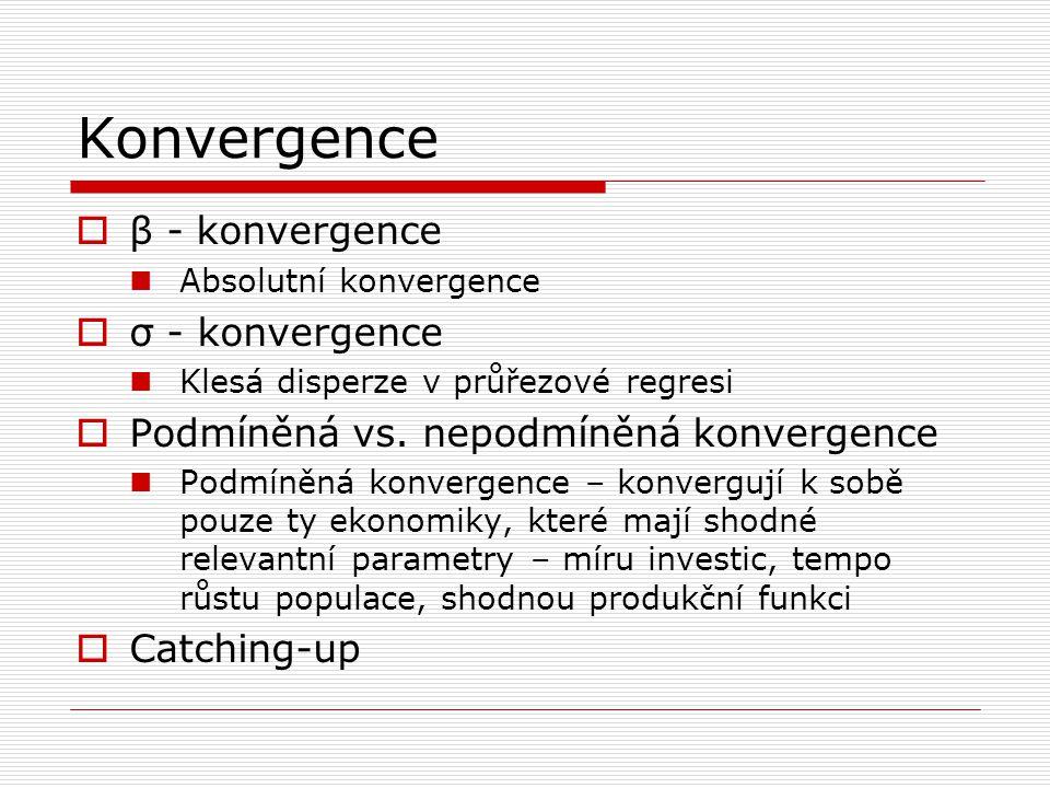 Konvergence  β - konvergence Absolutní konvergence  σ - konvergence Klesá disperze v průřezové regresi  Podmíněná vs. nepodmíněná konvergence Podmí