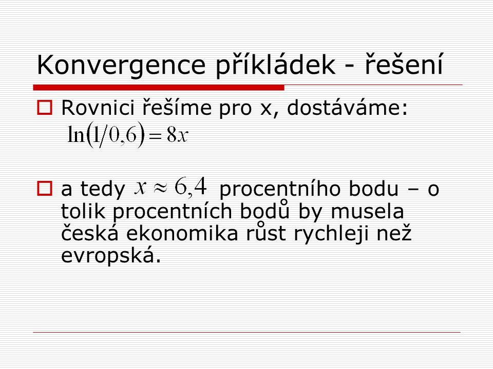 Konvergence příkládek - řešení  Rovnici řešíme pro x, dostáváme:  a tedy procentního bodu – o tolik procentních bodů by musela česká ekonomika růst
