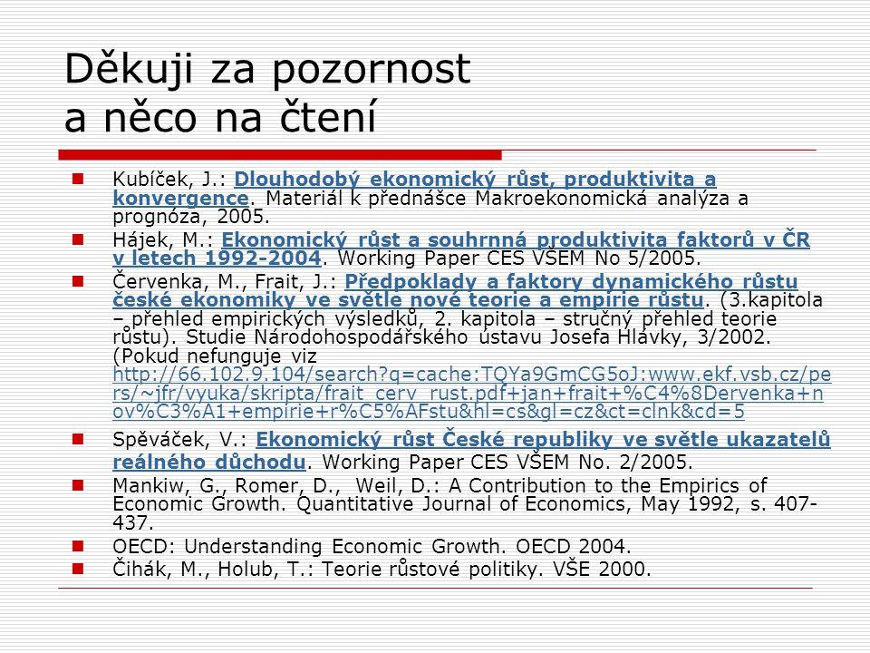 Děkuji za pozornost a něco na čtení Kubíček, J.: Dlouhodobý ekonomický růst, produktivita a konvergence. Materiál k přednášce Makroekonomická analýza