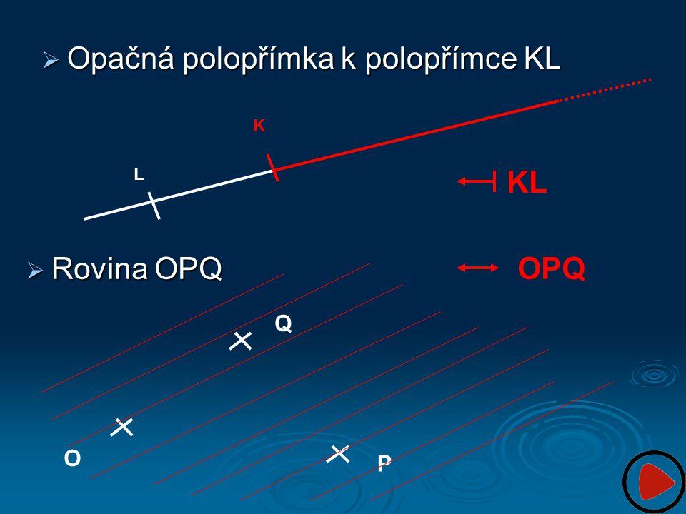  Opačná polopřímka k polopřímce KL K L KL O P Q OPQ  Rovina OPQ