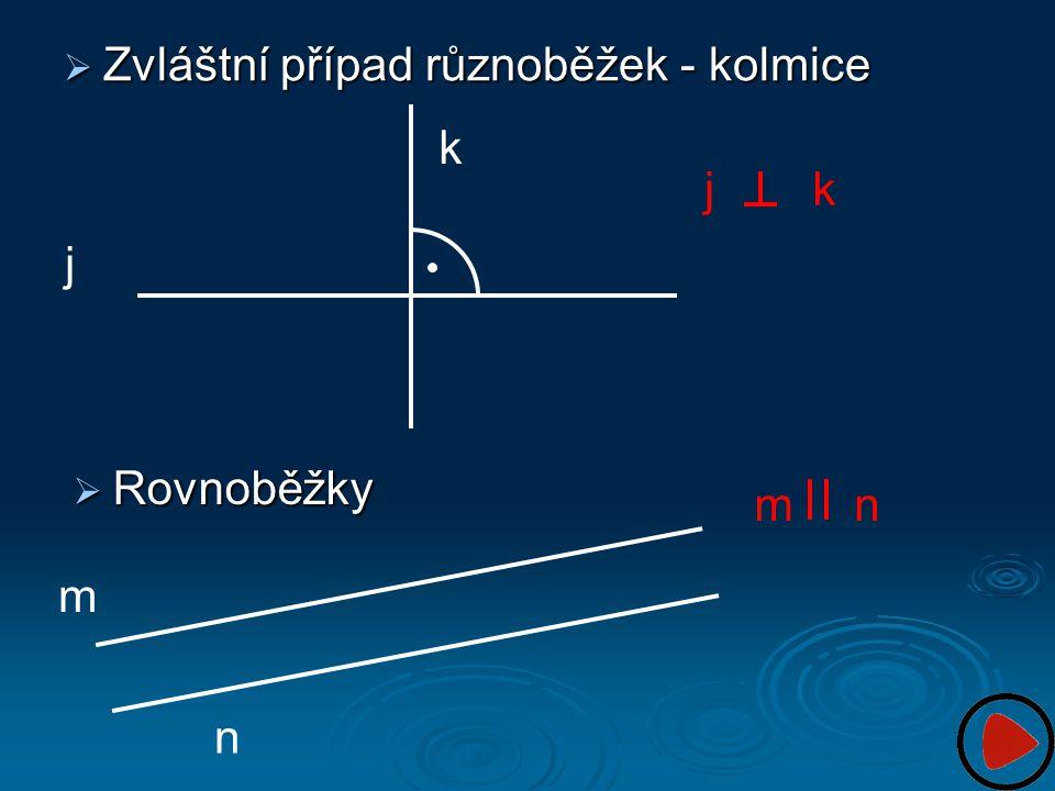  Zvláštní případ různoběžek - kolmice  Rovnoběžky k j jk m n n m