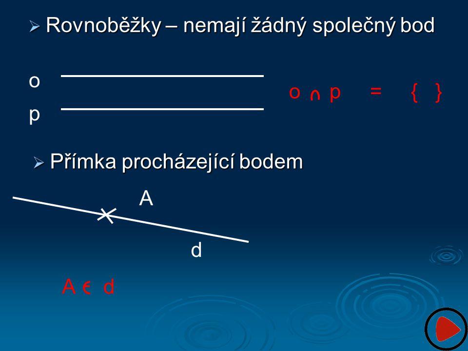  Rovnoběžky – nemají žádný společný bod o p o p = { }  Přímka procházející bodem A d A d