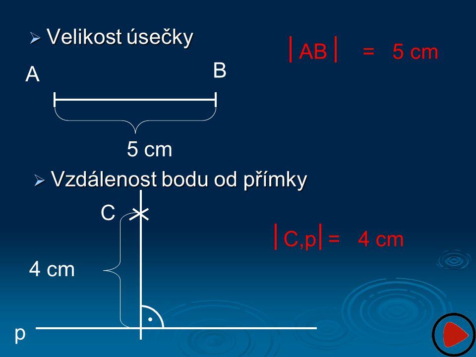  Velikost úsečky A B 5 cm AB = 5 cm  Vzdálenost bodu od přímky p C 4 cm C,p = 4 cm