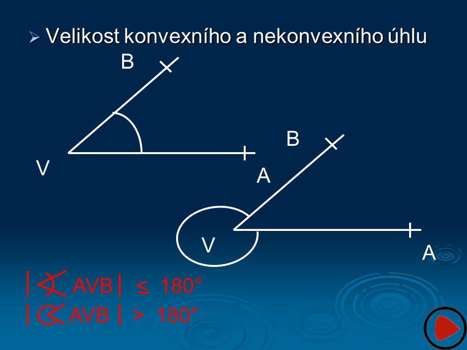  Velikost konvexního a nekonvexního úhlu AVB < 180° AVB > 180° A V B A V B