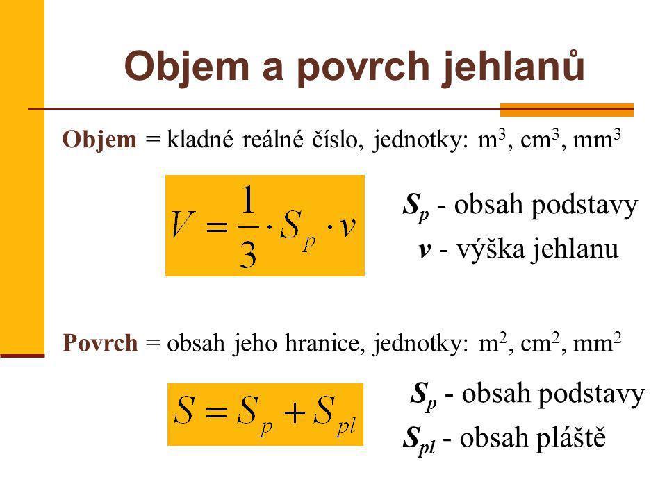 Objem a povrch jehlanů Objem= kladné reálné číslo, jednotky: m 3, cm 3, mm 3 Povrch= obsah jeho hranice, jednotky: m 2, cm 2, mm 2 S p - obsah podstavy v - výška jehlanu S p - obsah podstavy S pl - obsah pláště