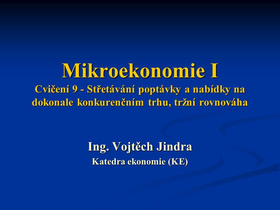 Mikroekonomie I Cvičení 9 - Střetávání poptávky a nabídky na dokonale konkurenčním trhu, tržní rovnováha Ing. Vojtěch Jindra Katedra ekonomie (KE)