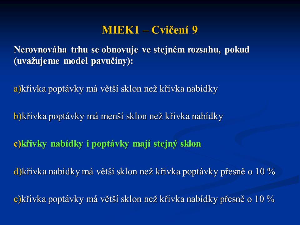 MIEK1 – Cvičení 9 Nerovnováha trhu se obnovuje ve stejném rozsahu, pokud (uvažujeme model pavučiny): a)křivka poptávky má větší sklon než křivka nabíd