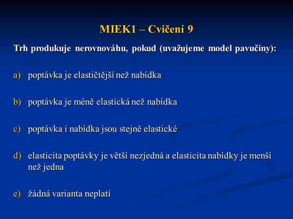 MIEK1 – Cvičení 9 Trh produkuje nerovnováhu, pokud (uvažujeme model pavučiny): a)poptávka je elastičtější než nabídka b)poptávka je méně elastická než