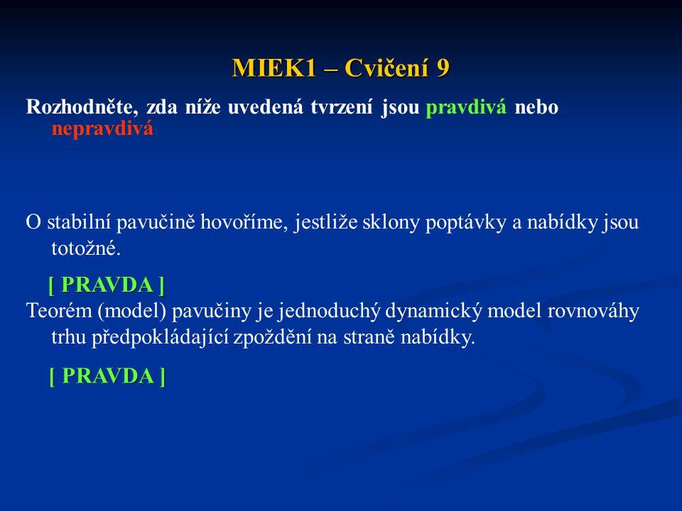MIEK1 – Cvičení 9 Rozhodněte, zda níže uvedená tvrzení jsou pravdivá nebo nepravdivá O stabilní pavučině hovoříme, jestliže sklony poptávky a nabídky