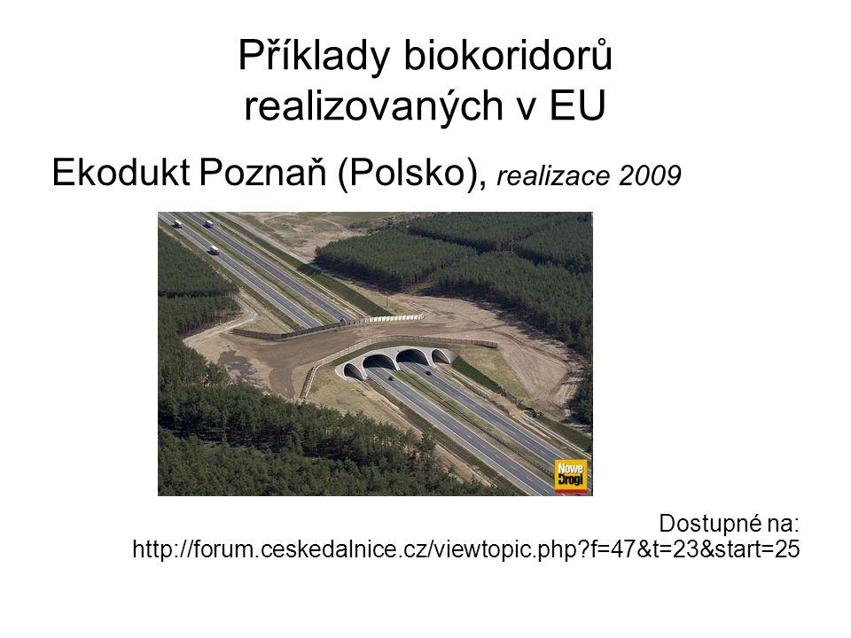 Příklady biokoridorů realizovaných v EU Ekodukt Poznaň (Polsko), realizace 2009 Dostupné na: http://forum.ceskedalnice.cz/viewtopic.php?f=47&t=23&star