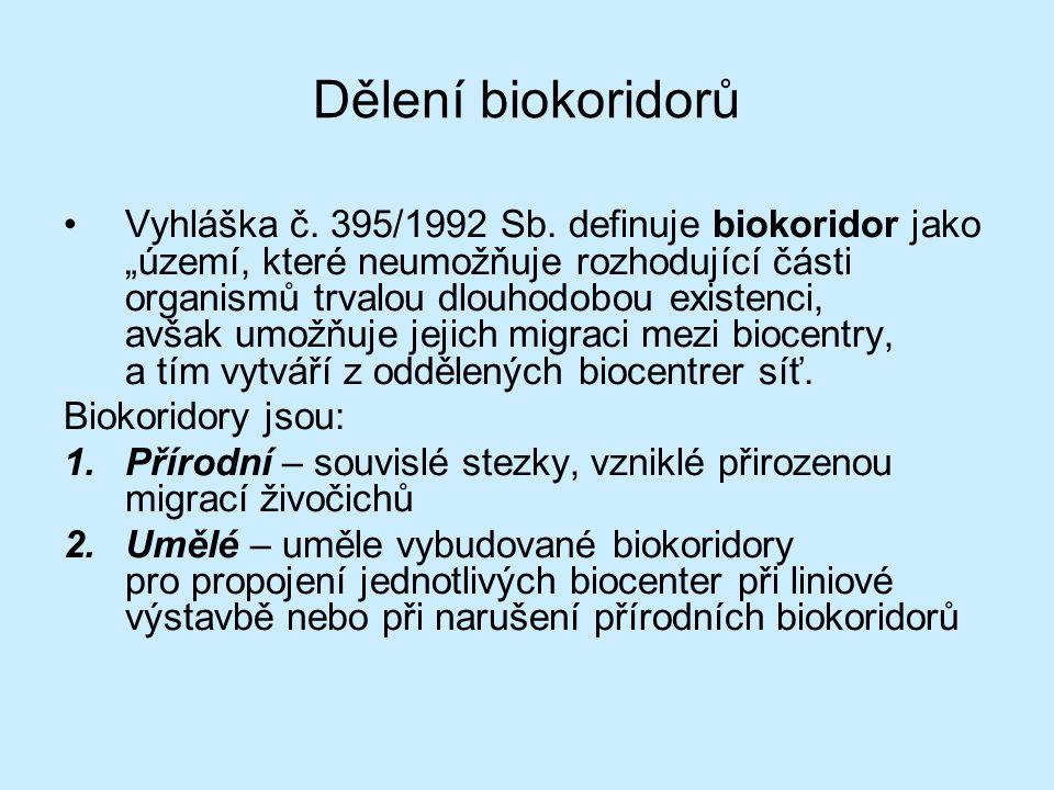 """Dělení biokoridorů Vyhláška č. 395/1992 Sb. definuje biokoridor jako """"území, které neumožňuje rozhodující části organismů trvalou dlouhodobou existenc"""