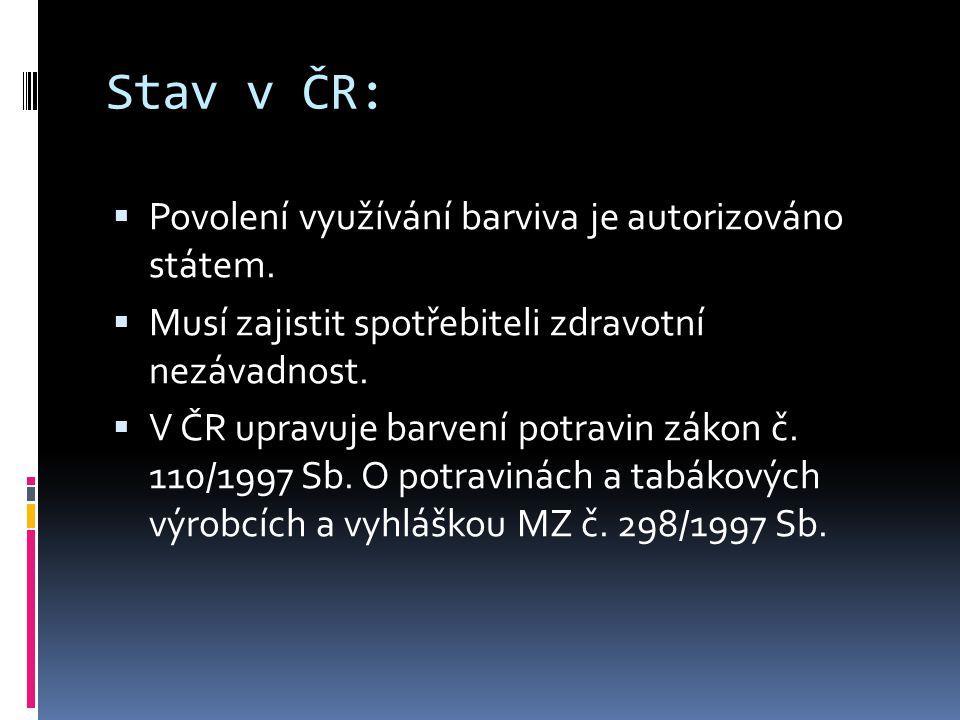 Stav v ČR:  Povolení využívání barviva je autorizováno státem.  Musí zajistit spotřebiteli zdravotní nezávadnost.  V ČR upravuje barvení potravin z