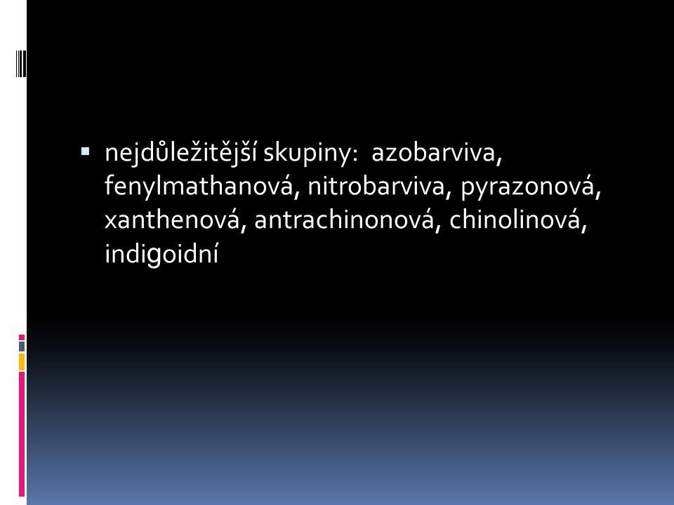  nejdůležitější skupiny: azobarviva, fenylmathanová, nitrobarviva, pyrazonová, xanthenová, antrachinonová, chinolinová, indi g oidní