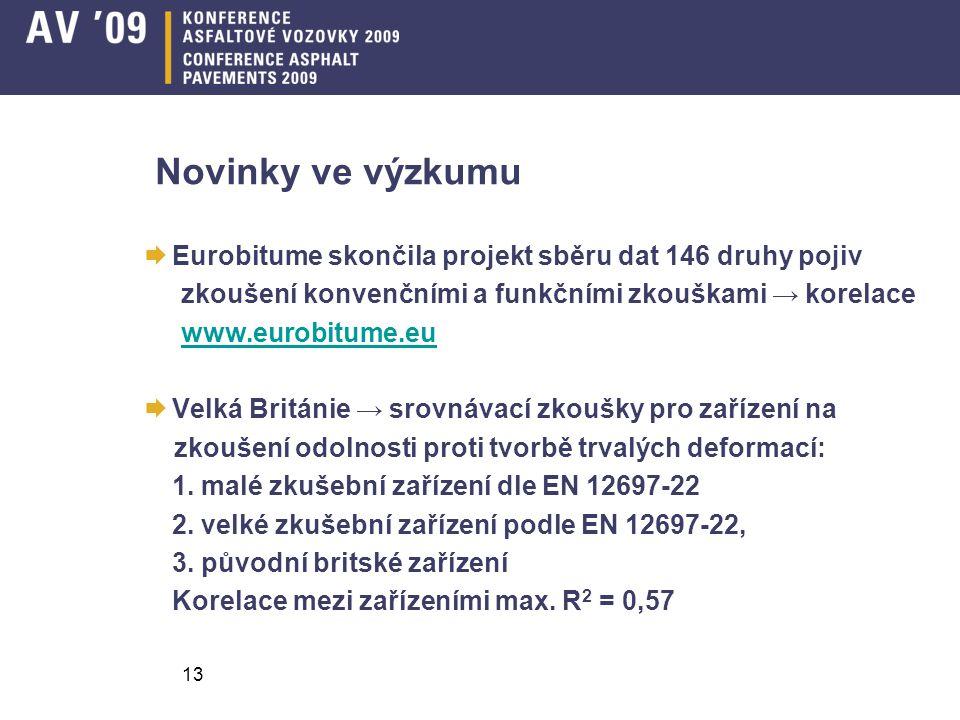 13 Novinky ve výzkumu  Eurobitume skončila projekt sběru dat 146 druhy pojiv zkoušení konvenčními a funkčními zkouškami → korelace www.eurobitume.eu  Velká Británie → srovnávací zkoušky pro zařízení na zkoušení odolnosti proti tvorbě trvalých deformací: 1.