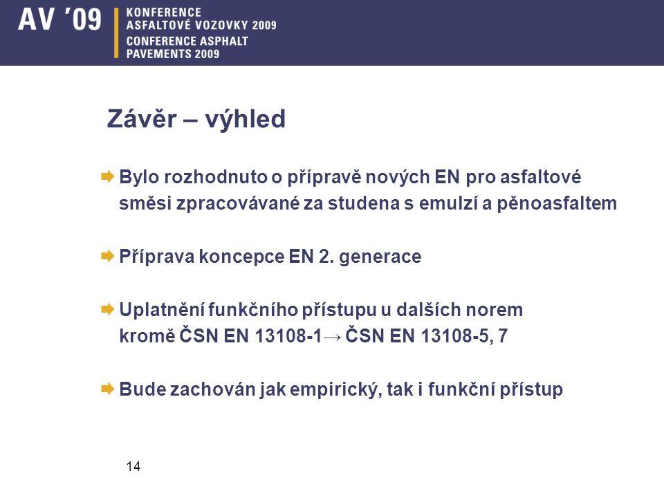 14 Závěr – výhled  Bylo rozhodnuto o přípravě nových EN pro asfaltové směsi zpracovávané za studena s emulzí a pěnoasfaltem  Příprava koncepce EN 2.