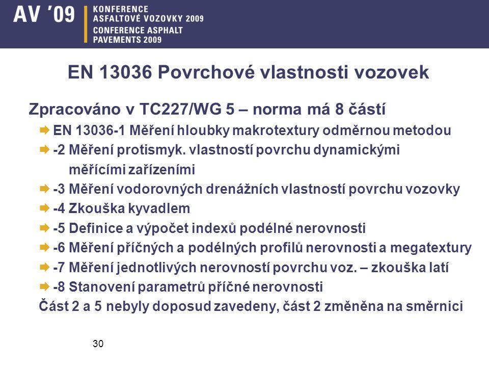 30 EN 13036 Povrchové vlastnosti vozovek Zpracováno v TC227/WG 5 – norma má 8 částí  EN 13036-1 Měření hloubky makrotextury odměrnou metodou  -2 Měření protismyk.