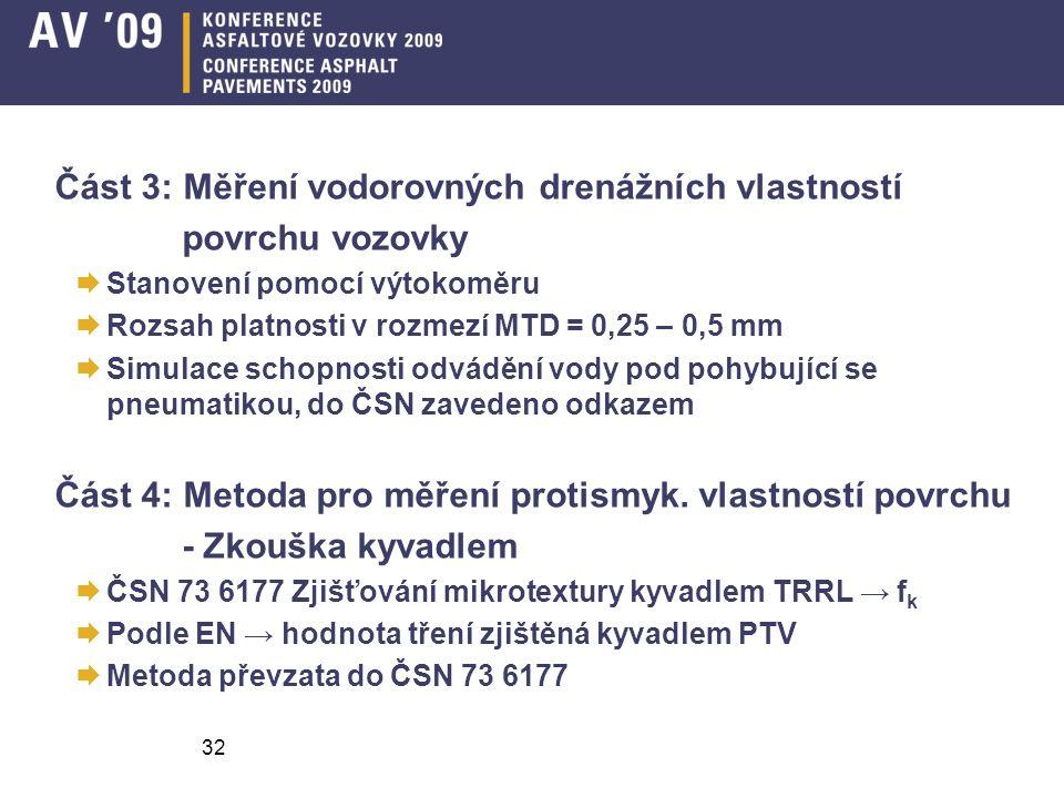 32 Část 3: Měření vodorovných drenážních vlastností povrchu vozovky  Stanovení pomocí výtokoměru  Rozsah platnosti v rozmezí MTD = 0,25 – 0,5 mm  Simulace schopnosti odvádění vody pod pohybující se pneumatikou, do ČSN zavedeno odkazem Část 4: Metoda pro měření protismyk.