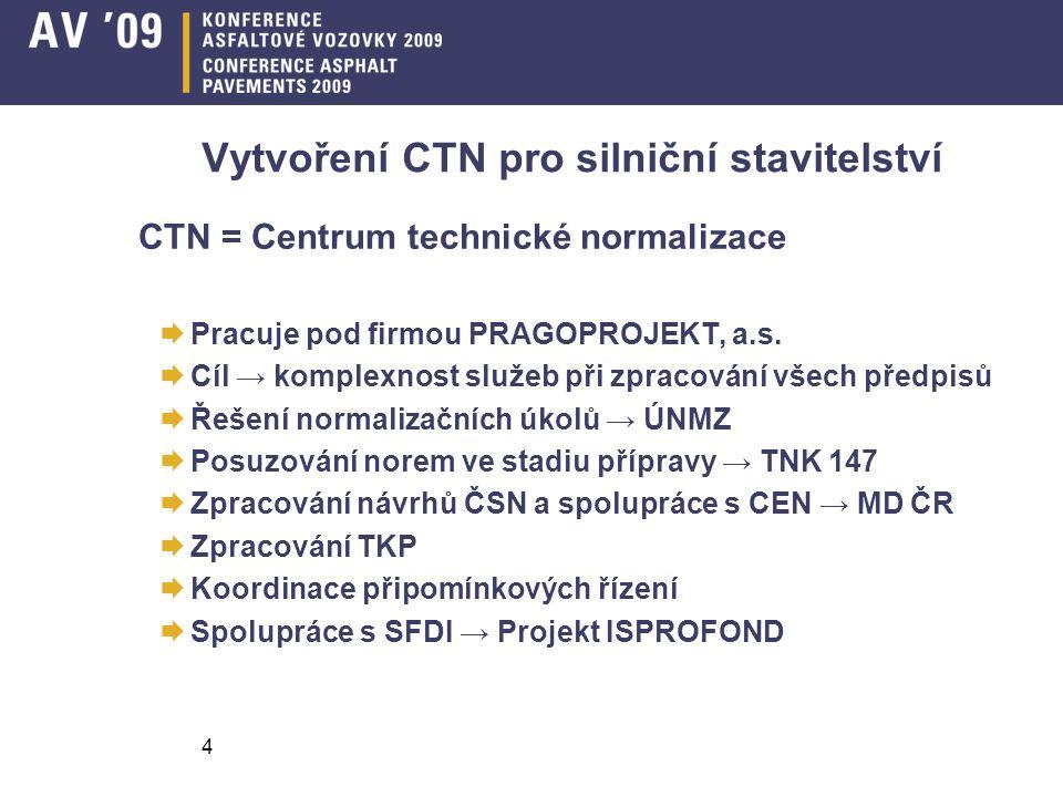 4 Vytvoření CTN pro silniční stavitelství CTN = Centrum technické normalizace  Pracuje pod firmou PRAGOPROJEKT, a.s.  Cíl → komplexnost služeb při z
