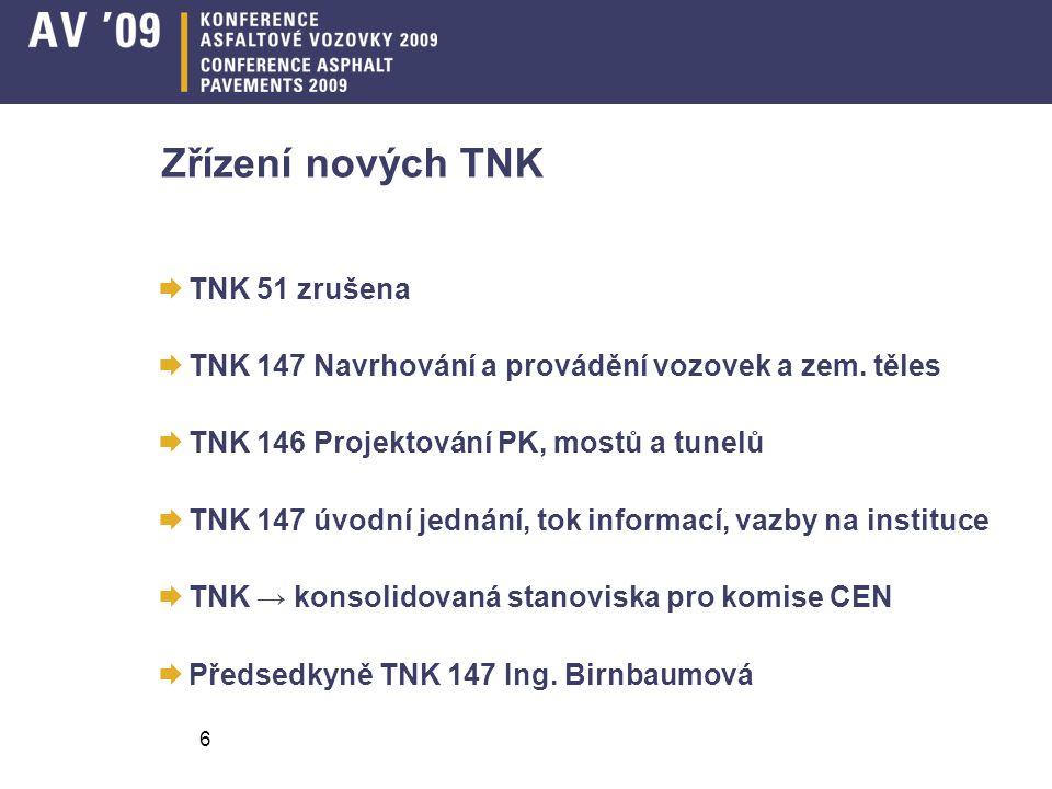 6 Zřízení nových TNK  TNK 51 zrušena  TNK 147 Navrhování a provádění vozovek a zem. těles  TNK 146 Projektování PK, mostů a tunelů  TNK 147 úvodní