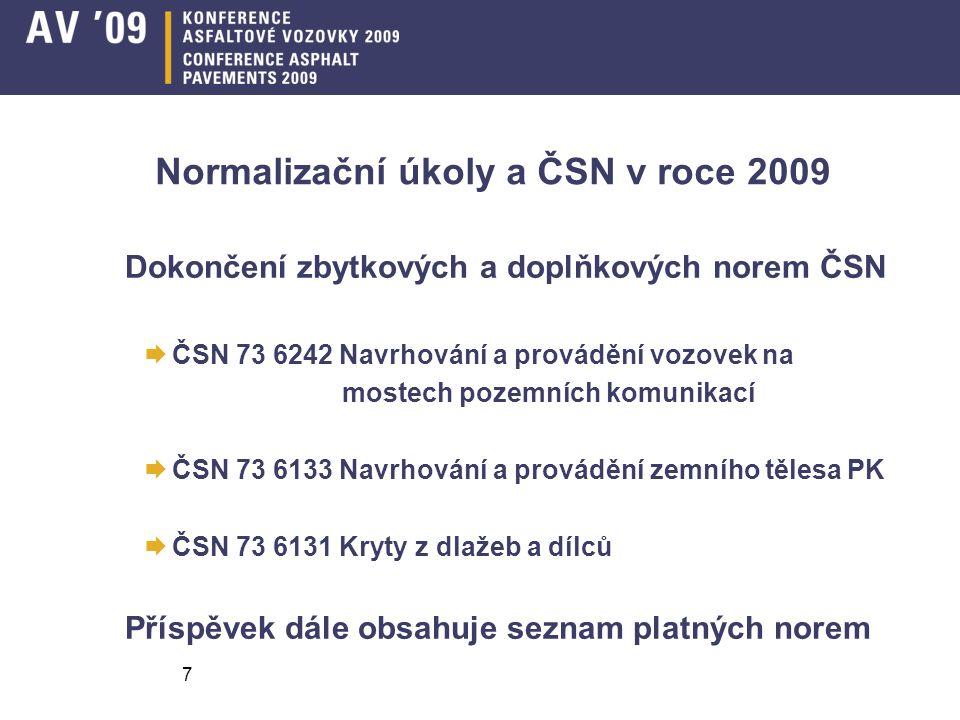 7 Normalizační úkoly a ČSN v roce 2009 Dokončení zbytkových a doplňkových norem ČSN  ČSN 73 6242 Navrhování a provádění vozovek na mostech pozemních komunikací  ČSN 73 6133 Navrhování a provádění zemního tělesa PK  ČSN 73 6131 Kryty z dlažeb a dílců Příspěvek dále obsahuje seznam platných norem