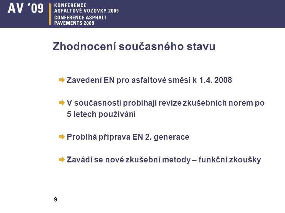 9 Zhodnocení současného stavu  Zavedení EN pro asfaltové směsi k 1.4. 2008  V současnosti probíhají revize zkušebních norem po 5 letech používání 