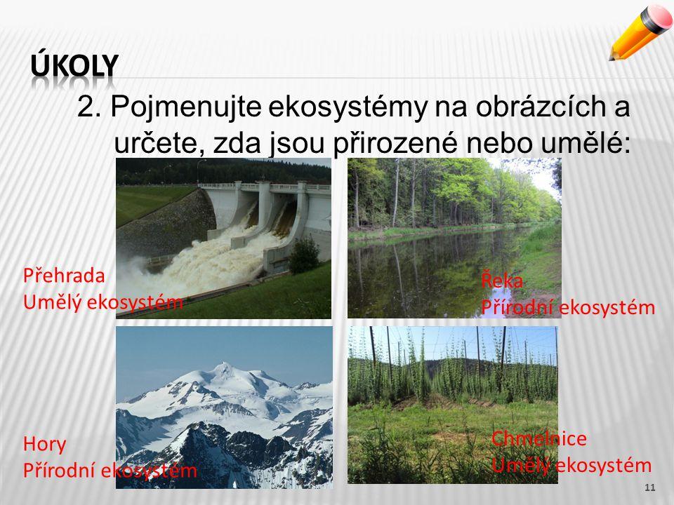 2. Pojmenujte ekosystémy na obrázcích a určete, zda jsou přirozené nebo umělé: 11 Přehrada Umělý ekosystém Řeka Přírodní ekosystém Hory Přírodní ekosy