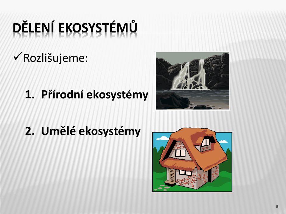Rozlišujeme: 1.Přírodní ekosystémy 2.Umělé ekosystémy 6