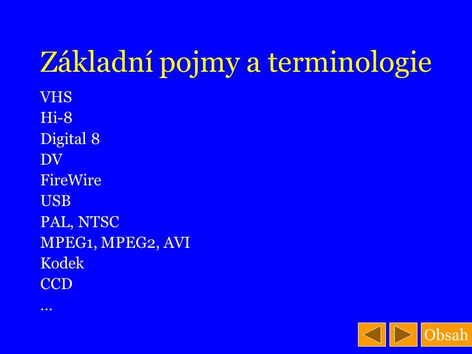 Obsah Základní pojmy a terminologie VHS Hi-8 Digital 8 DV FireWire USB PAL, NTSC MPEG1, MPEG2, AVI Kodek CCD …